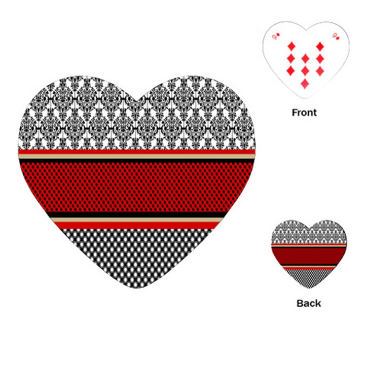Background Damask Red Black Playing Cards (Heart)