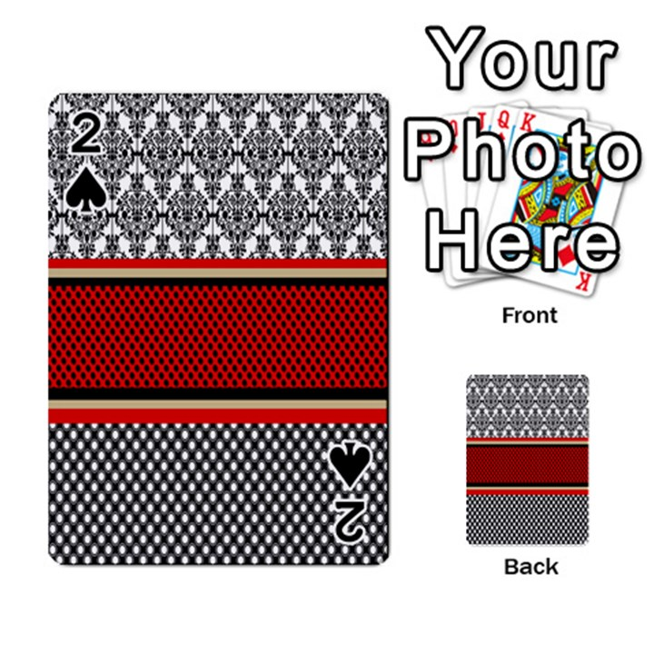 Background Damask Red Black Playing Cards 54 Designs