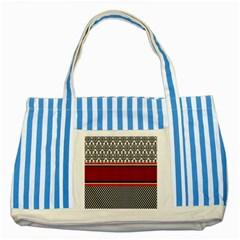Background Damask Red Black Striped Blue Tote Bag
