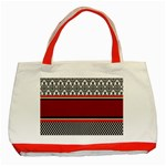Background Damask Red Black Classic Tote Bag (Red) Front