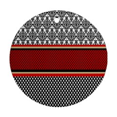 Background Damask Red Black Round Ornament (Two Sides)