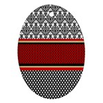Background Damask Red Black Oval Ornament (Two Sides) Front