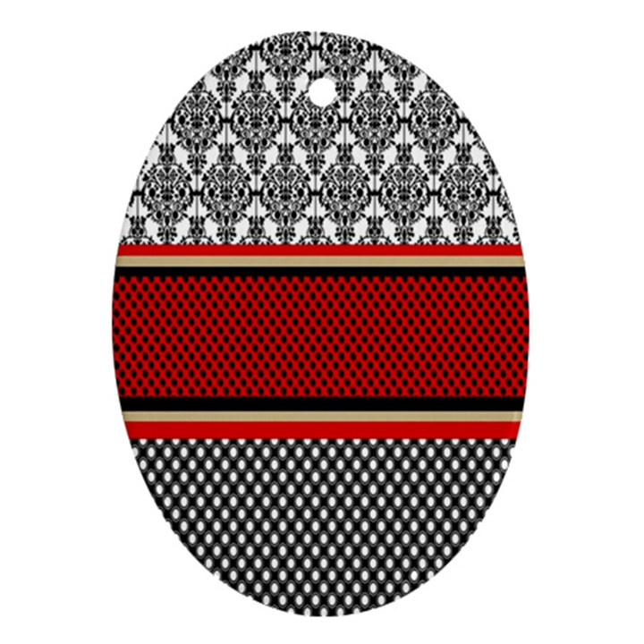 Background Damask Red Black Oval Ornament (Two Sides)