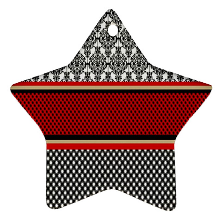 Background Damask Red Black Star Ornament (Two Sides)