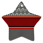 Background Damask Red Black Star Ornament (Two Sides)  Back