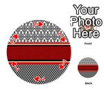 Background Damask Red Black Playing Cards 54 (Round)  Front - Heart7