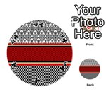 Background Damask Red Black Playing Cards 54 (Round)  Front - Club4