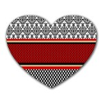 Background Damask Red Black Heart Mousepads Front