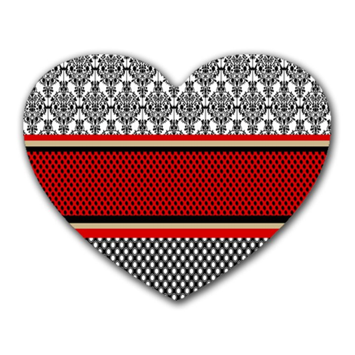 Background Damask Red Black Heart Mousepads