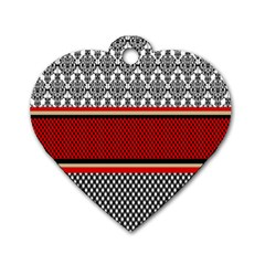 Background Damask Red Black Dog Tag Heart (Two Sides)