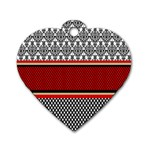 Background Damask Red Black Dog Tag Heart (Two Sides) Back