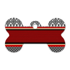 Background Damask Red Black Dog Tag Bone (Two Sides)