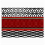Background Damask Red Black Large Glasses Cloth (2-Side) Front