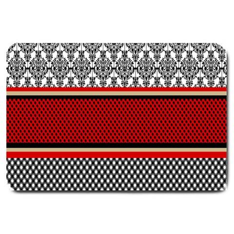 Background Damask Red Black Large Doormat