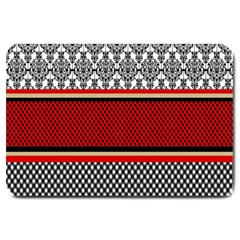 Background Damask Red Black Large Doormat