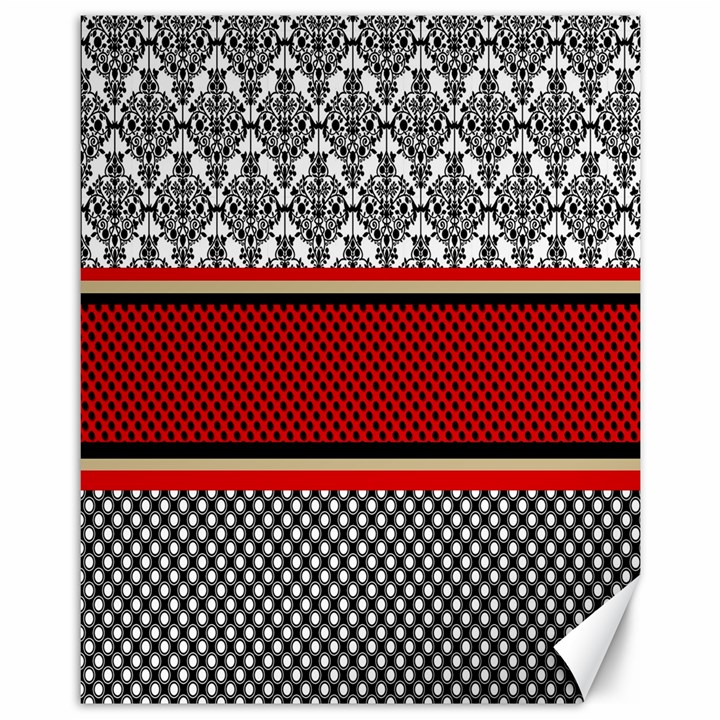 Background Damask Red Black Canvas 11  x 14