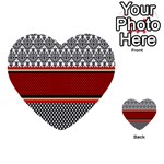 Background Damask Red Black Multi-purpose Cards (Heart)  Front 51