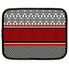 Background Damask Red Black Netbook Case (Large)
