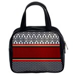 Background Damask Red Black Classic Handbags (2 Sides) Front