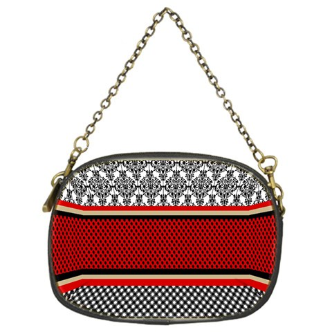 Background Damask Red Black Chain Purses (One Side)