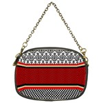 Background Damask Red Black Chain Purses (One Side)  Front
