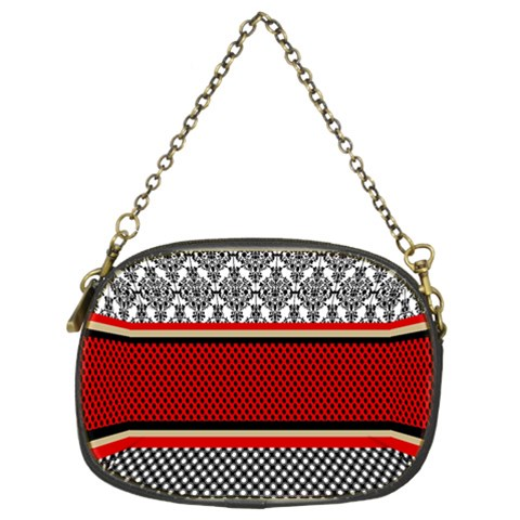 Background Damask Red Black Chain Purses (Two Sides)