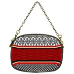 Background Damask Red Black Chain Purses (Two Sides)  Back