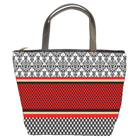Background Damask Red Black Bucket Bags