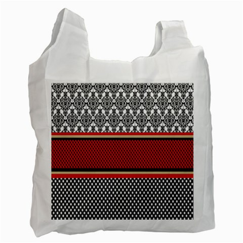 Background Damask Red Black Recycle Bag (One Side)