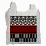 Background Damask Red Black Recycle Bag (One Side) Front