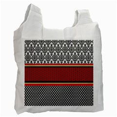 Background Damask Red Black Recycle Bag (Two Side)