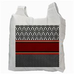 Background Damask Red Black Recycle Bag (Two Side)  Back
