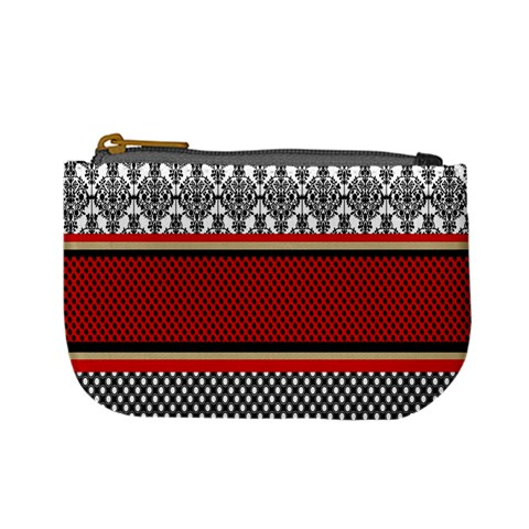 Background Damask Red Black Mini Coin Purses