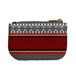 Background Damask Red Black Mini Coin Purses Back