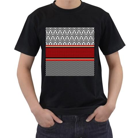 Background Damask Red Black Men s T-Shirt (Black)