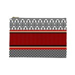 Background Damask Red Black Cosmetic Bag (Large)  Front