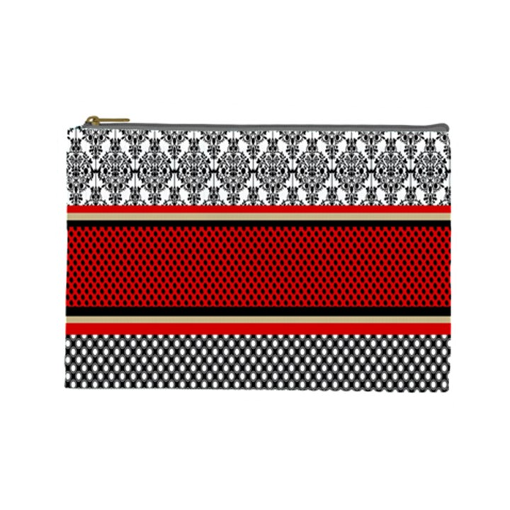 Background Damask Red Black Cosmetic Bag (Large)