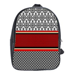 Background Damask Red Black School Bags(Large)