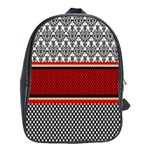 Background Damask Red Black School Bags(Large)  Front