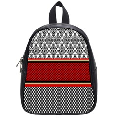 Background Damask Red Black School Bags (Small)