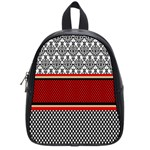 Background Damask Red Black School Bags (Small)  Front