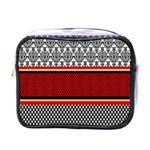 Background Damask Red Black Mini Toiletries Bags Front