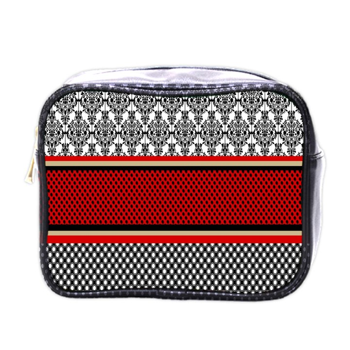 Background Damask Red Black Mini Toiletries Bags