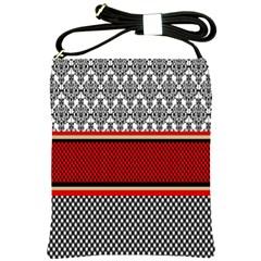 Background Damask Red Black Shoulder Sling Bags