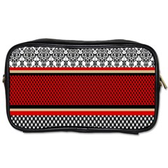 Background Damask Red Black Toiletries Bags