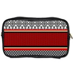 Background Damask Red Black Toiletries Bags Front