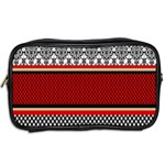 Background Damask Red Black Toiletries Bags 2-Side Back