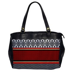 Background Damask Red Black Office Handbags