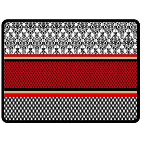 Background Damask Red Black Fleece Blanket (Large)