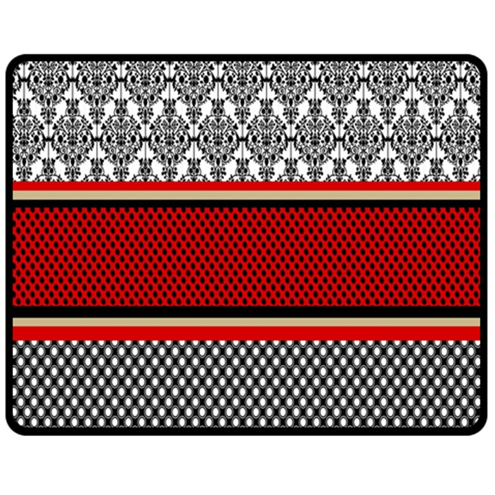 Background Damask Red Black Fleece Blanket (Medium)
